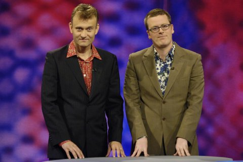 In this game Frankie Boyle is Conservative party leader David Cameron and Hugh Dennis is saying what he really means